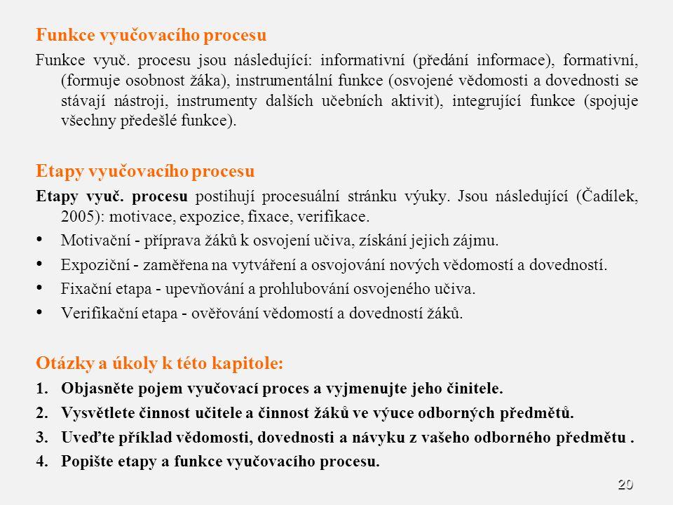 20 Funkce vyučovacího procesu Funkce vyuč. procesu jsou následující: informativní (předání informace), formativní, (formuje osobnost žáka), instrument
