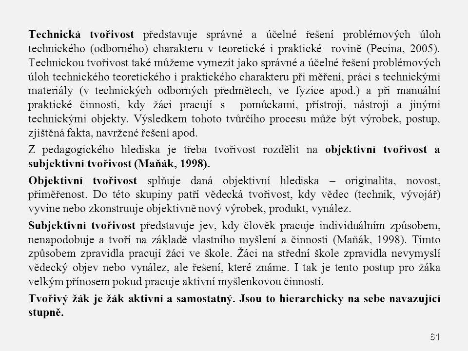 Technická tvořivost představuje správné a účelné řešení problémových úloh technického (odborného) charakteru v teoretické i praktické rovině (Pecina, 2005).