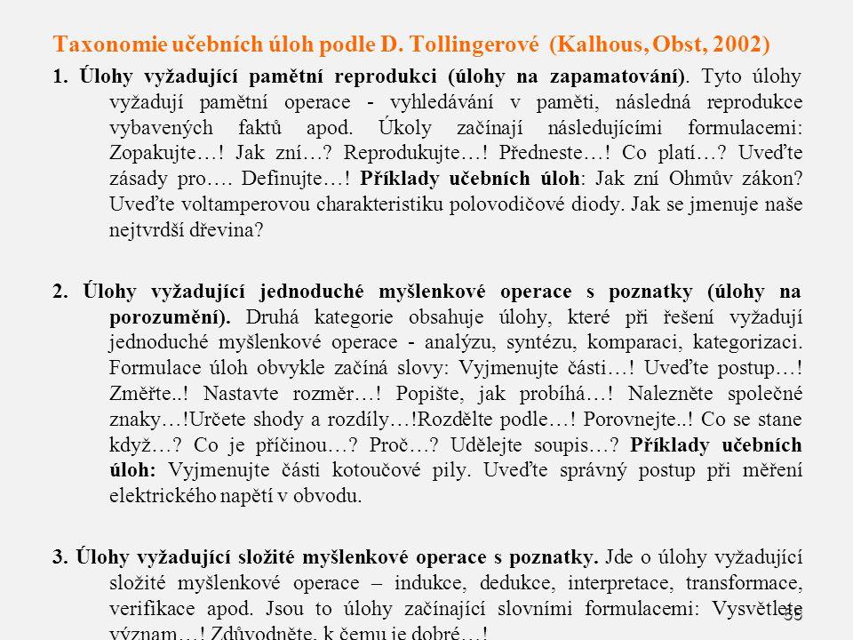 66 Taxonomie učebních úloh podle D. Tollingerové (Kalhous, Obst, 2002) 1. Úlohy vyžadující pamětní reprodukci (úlohy na zapamatování). Tyto úlohy vyža