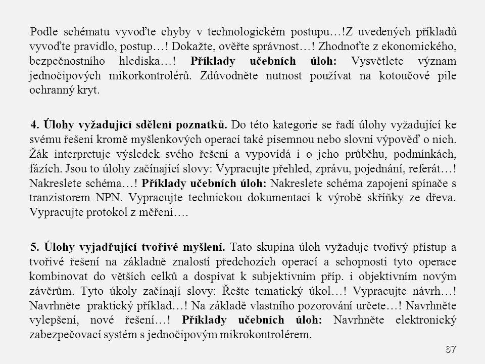 Podle schématu vyvoďte chyby v technologickém postupu…!Z uvedených příkladů vyvoďte pravidlo, postup….