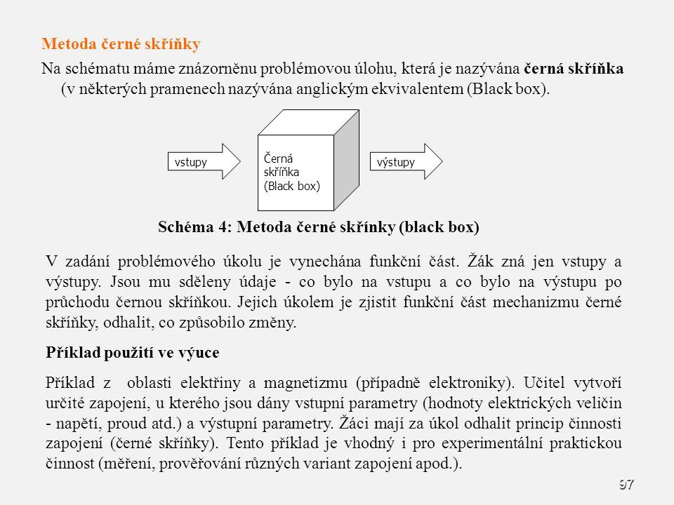 97 Metoda černé skříňky Na schématu máme znázorněnu problémovou úlohu, která je nazývána černá skříňka (v některých pramenech nazývána anglickým ekvivalentem (Black box).