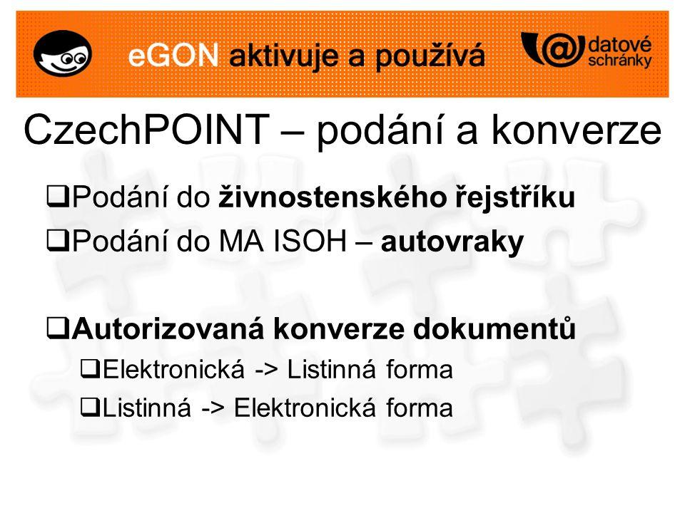 CzechPOINT – podání a konverze  Podání do živnostenského řejstříku  Podání do MA ISOH – autovraky  Autorizovaná konverze dokumentů  Elektronická -