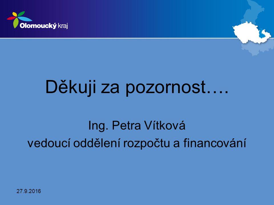 Děkuji za pozornost…. Ing. Petra Vítková vedoucí oddělení rozpočtu a financování 27.9.2016