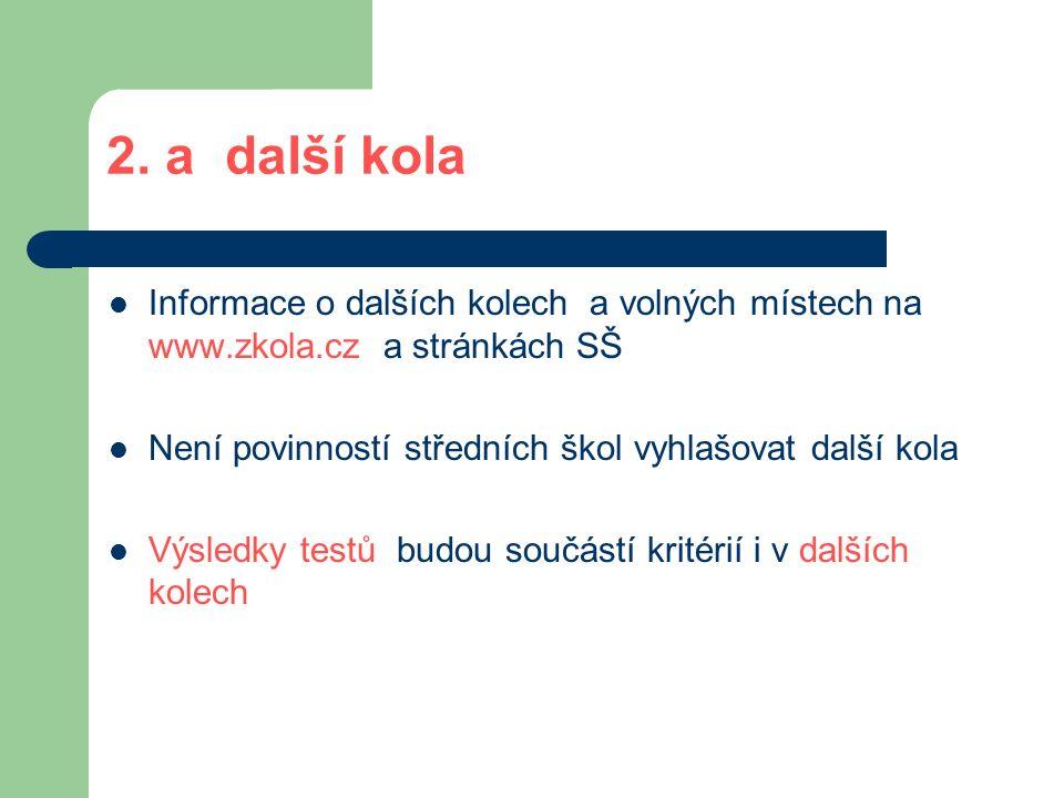 2. a další kola Informace o dalších kolech a volných místech na www.zkola.cz a stránkách SŠ Není povinností středních škol vyhlašovat další kola Výsle