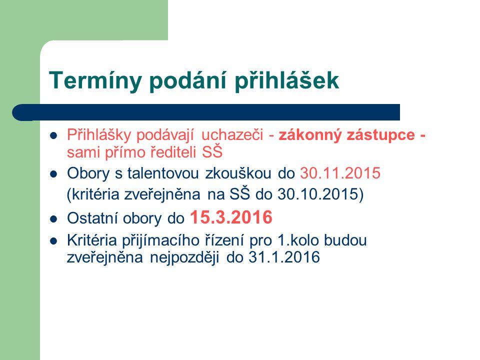 Termíny podání přihlášek Přihlášky podávají uchazeči - zákonný zástupce - sami přímo řediteli SŠ Obory s talentovou zkouškou do 30.11.2015 (kritéria zveřejněna na SŠ do 30.10.2015) Ostatní obory do 15.3.2016 Kritéria přijímacího řízení pro 1.kolo budou zveřejněna nejpozději do 31.1.2016