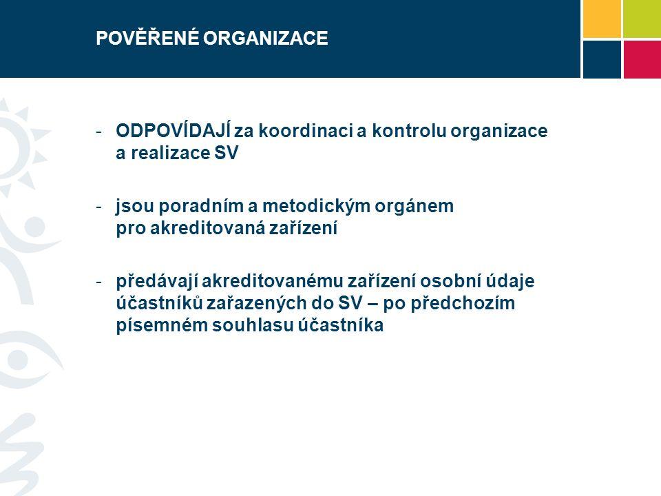 POVĚŘENÉ ORGANIZACE -ODPOVÍDAJÍ za koordinaci a kontrolu organizace a realizace SV -jsou poradním a metodickým orgánem pro akreditovaná zařízení -před