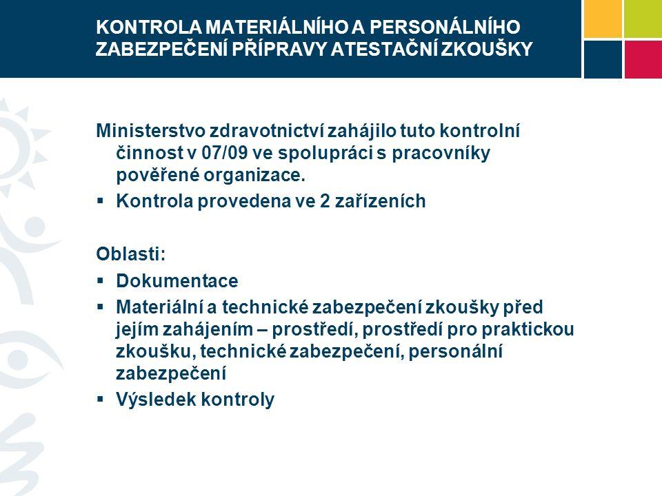 KONTROLA MATERIÁLNÍHO A PERSONÁLNÍHO ZABEZPEČENÍ PŘÍPRAVY ATESTAČNÍ ZKOUŠKY Ministerstvo zdravotnictví zahájilo tuto kontrolní činnost v 07/09 ve spolupráci s pracovníky pověřené organizace.