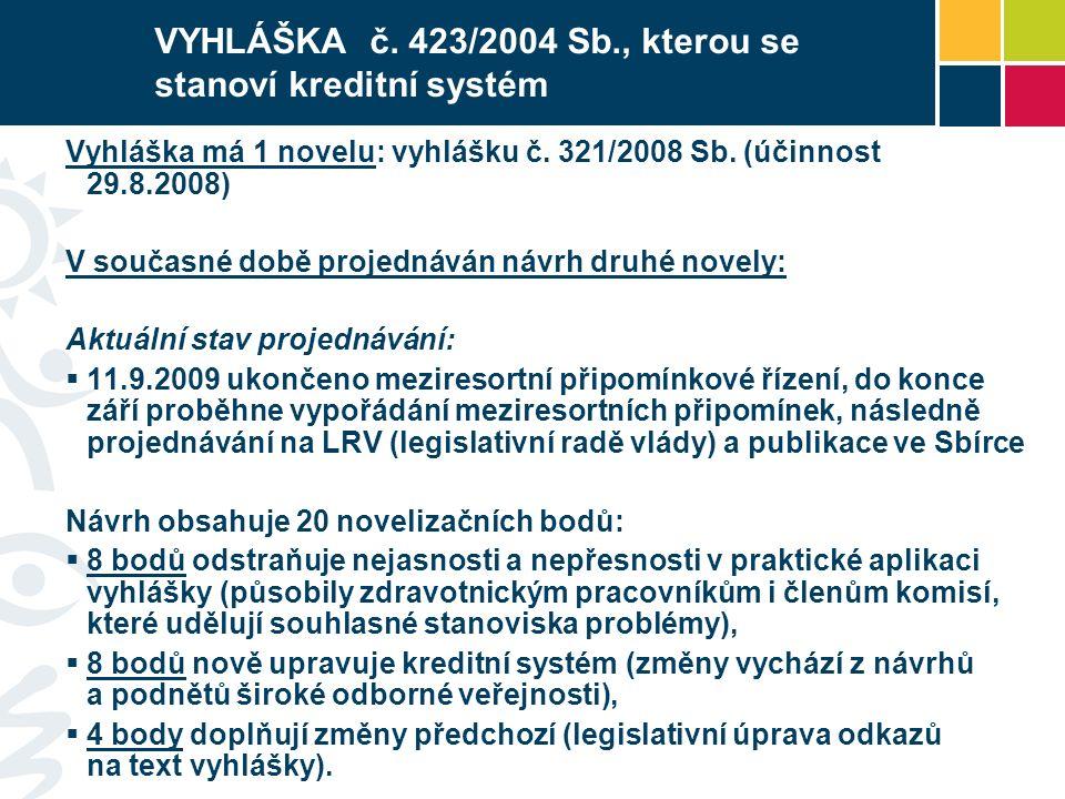 VYHLÁŠKA č. 423/2004 Sb., kterou se stanoví kreditní systém Vyhláška má 1 novelu: vyhlášku č. 321/2008 Sb. (účinnost 29.8.2008) V současné době projed