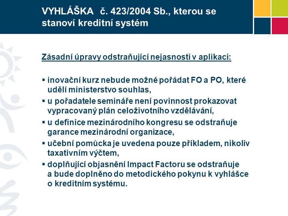 VYHLÁŠKA č. 423/2004 Sb., kterou se stanoví kreditní systém Zásadní úpravy odstraňující nejasnosti v aplikaci:  inovační kurz nebude možné pořádat FO