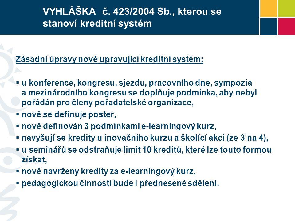 VYHLÁŠKA č. 423/2004 Sb., kterou se stanoví kreditní systém Zásadní úpravy nově upravující kreditní systém:  u konference, kongresu, sjezdu, pracovní