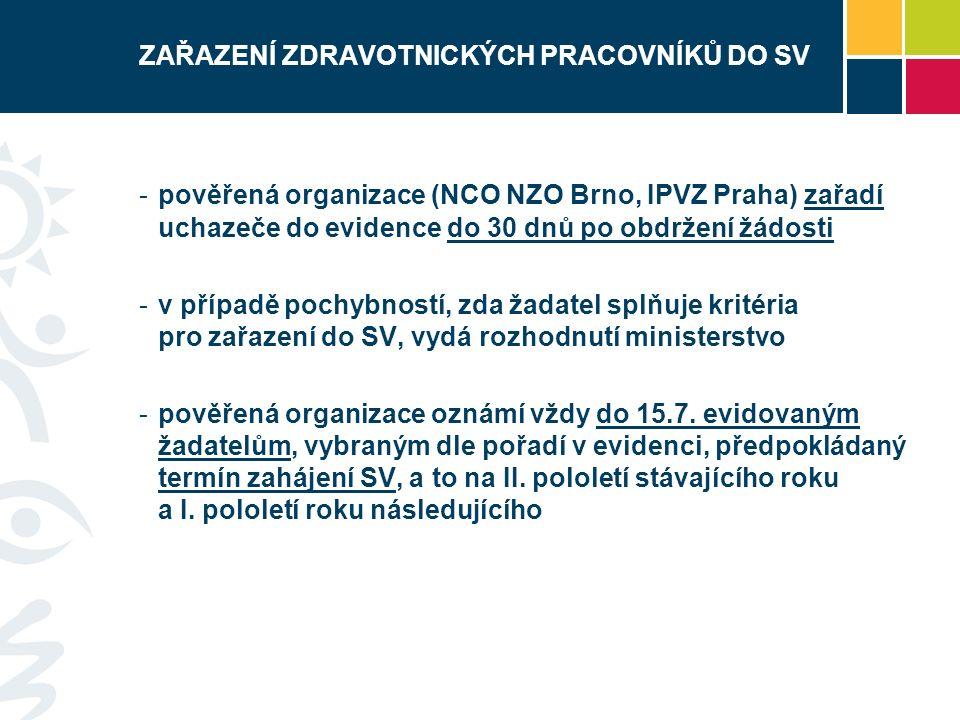 ZAŘAZENÍ ZDRAVOTNICKÝCH PRACOVNÍKŮ DO SV -pověřená organizace (NCO NZO Brno, IPVZ Praha) zařadí uchazeče do evidence do 30 dnů po obdržení žádosti -v případě pochybností, zda žadatel splňuje kritéria pro zařazení do SV, vydá rozhodnutí ministerstvo -pověřená organizace oznámí vždy do 15.7.