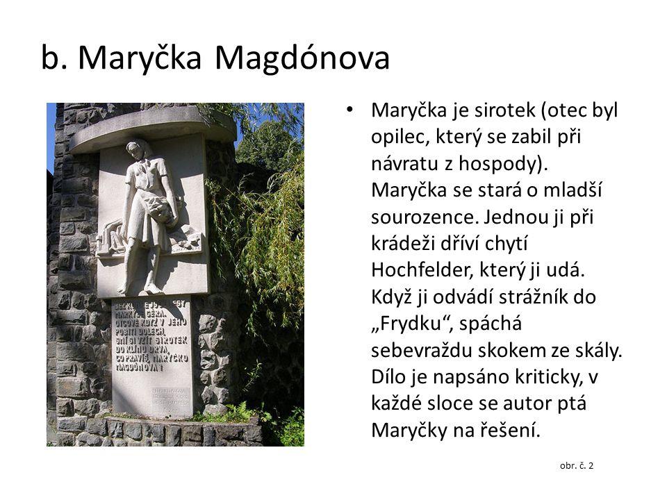b. Maryčka Magdónova Maryčka je sirotek (otec byl opilec, který se zabil při návratu z hospody). Maryčka se stará o mladší sourozence. Jednou ji při k