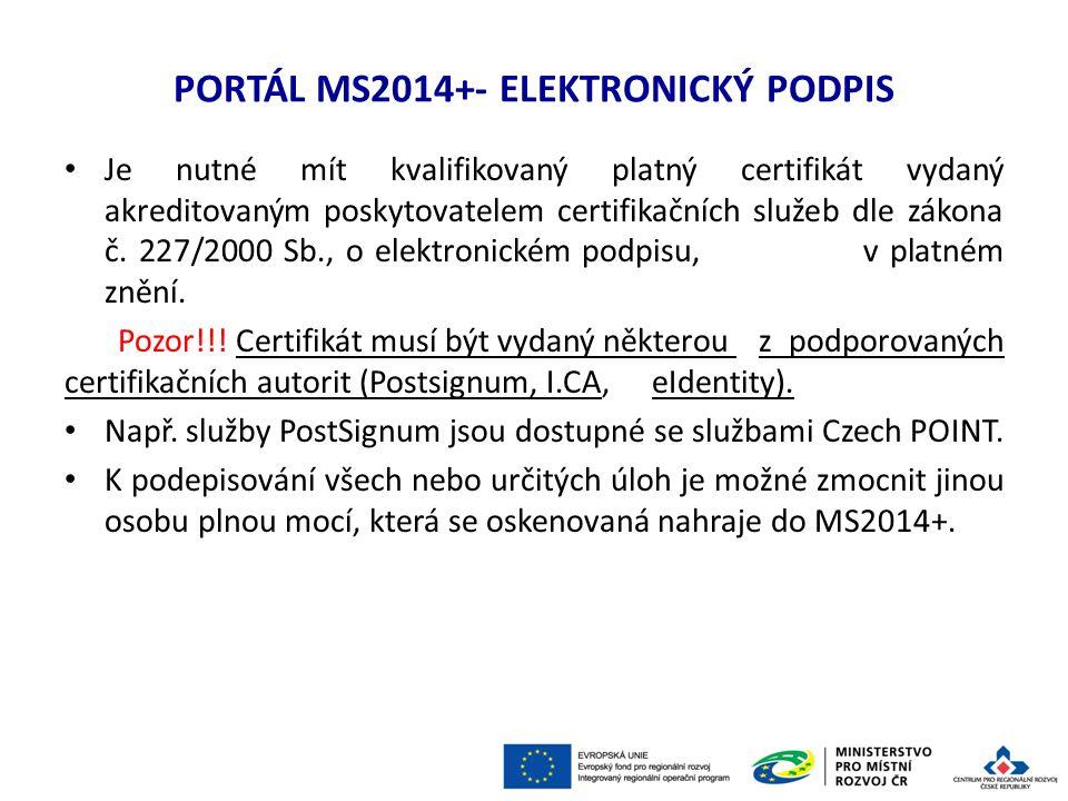 PORTÁL MS2014+ - HLAVNÍ ZMĚNY Pozor!!.