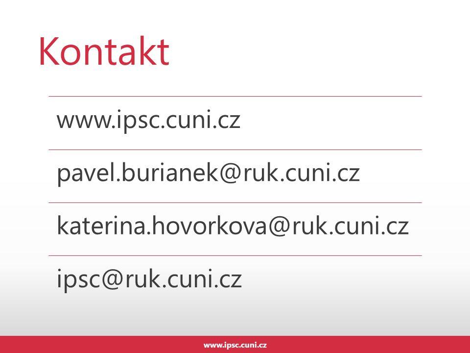Kontakt www.ipsc.cuni.cz pavel.burianek@ruk.cuni.cz katerina.hovorkova@ruk.cuni.cz ipsc@ruk.cuni.cz www.ipsc.cuni.cz