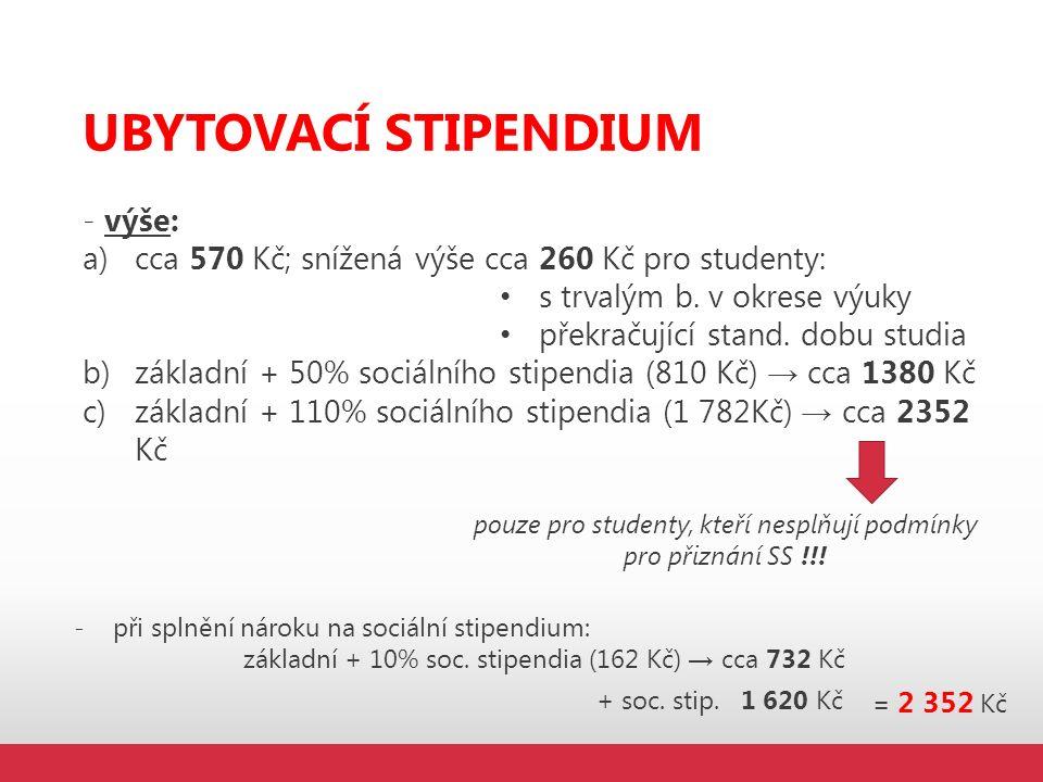 UBYTOVACÍ STIPENDIUM - výše: a)cca 570 Kč; snížená výše cca 260 Kč pro studenty: s trvalým b. v okrese výuky překračující stand. dobu studia b)základn