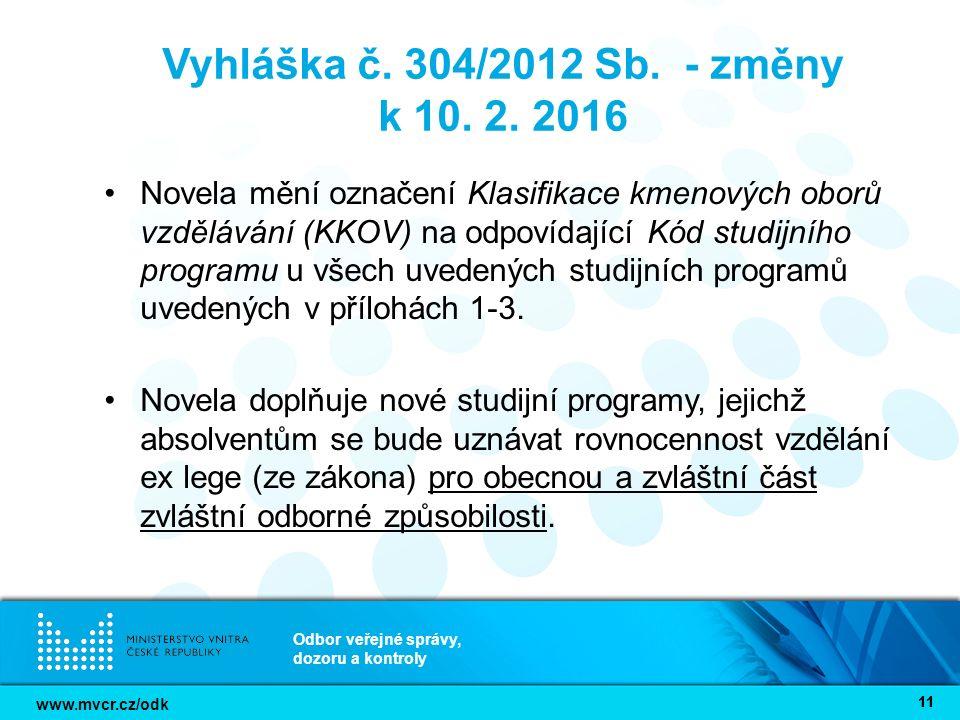 www.mvcr.cz/odk Odbor veřejné správy, dozoru a kontroly 11 Vyhláška č.