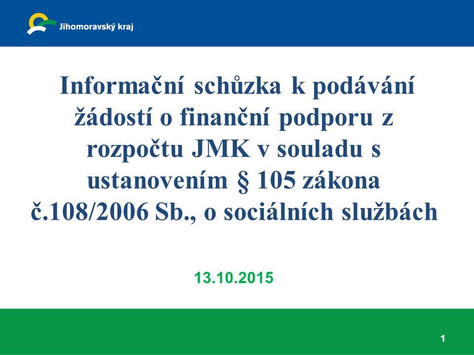 Informační schůzka k podávání žádostí o finanční podporu z rozpočtu JMK v souladu s ustanovením § 105 zákona č.108/2006 Sb., o sociálních službách 13.10.2015 1
