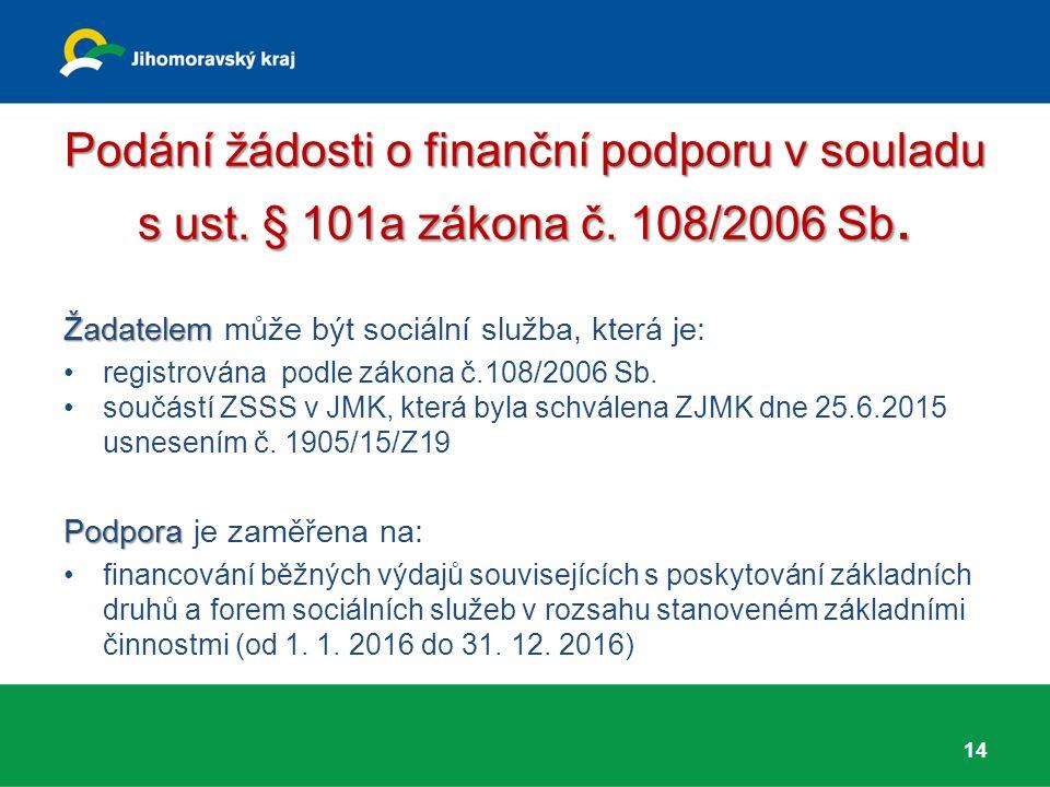 Podání žádosti o finanční podporu v souladu s ust. § 101a zákona č. 108/2006 Sb. Žadatelem Žadatelem může být sociální služba, která je: registrována
