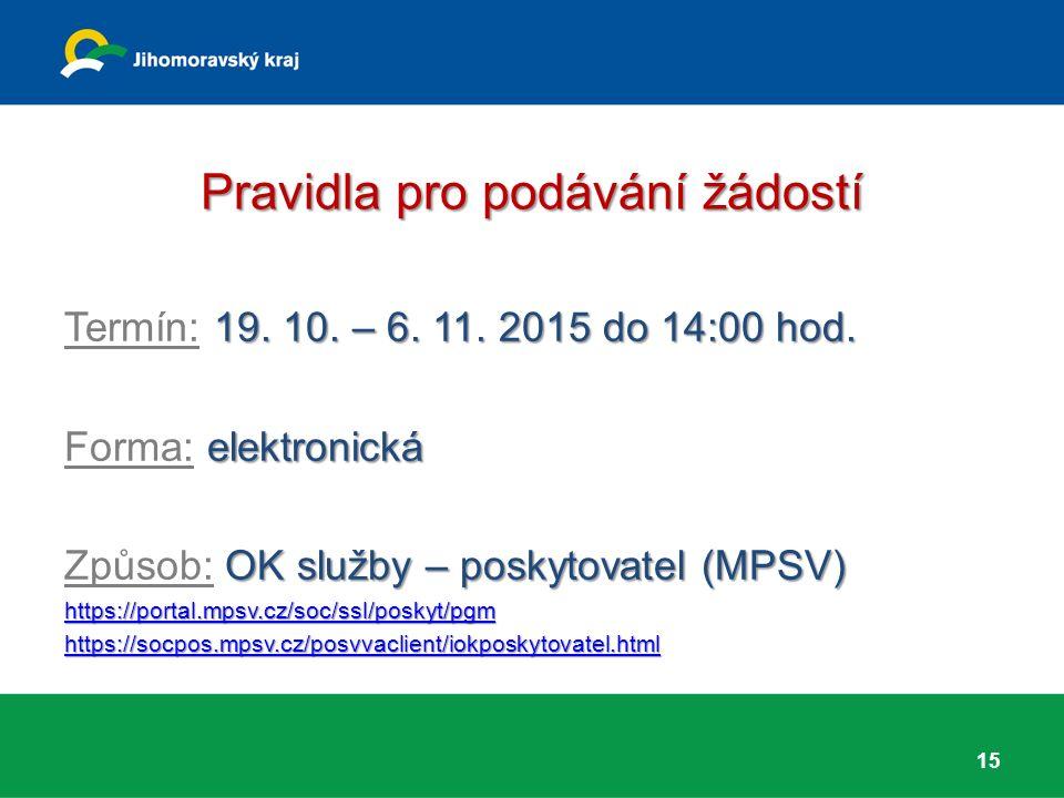 Pravidla pro podávání žádostí 19. 10. – 6. 11. 2015 do 14:00 hod. Termín: 19. 10. – 6. 11. 2015 do 14:00 hod. elektronická Forma: elektronická OK služ