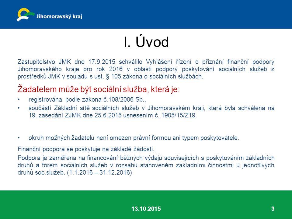 I. Úvod Zastupitelstvo JMK dne 17.9.2015 schválilo Vyhlášení řízení o přiznání finanční podpory Jihomoravského kraje pro rok 2016 v oblasti podpory po