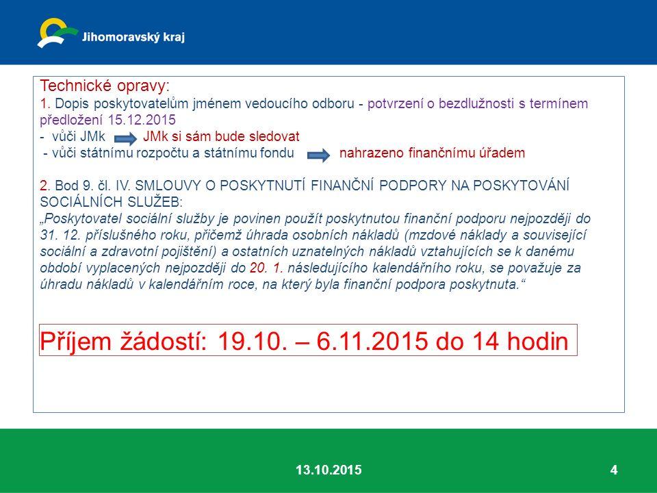 Technické opravy: 1. Dopis poskytovatelům jménem vedoucího odboru - potvrzení o bezdlužnosti s termínem předložení 15.12.2015 - vůči JMk JMk si sám bu