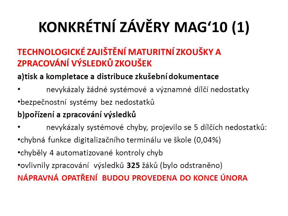 KONKRÉTNÍ ZÁVĚRY MAG'10 (1) TECHNOLOGICKÉ ZAJIŠTĚNÍ MATURITNÍ ZKOUŠKY A ZPRACOVÁNÍ VÝSLEDKŮ ZKOUŠEK a)tisk a kompletace a distribuce zkušební dokument