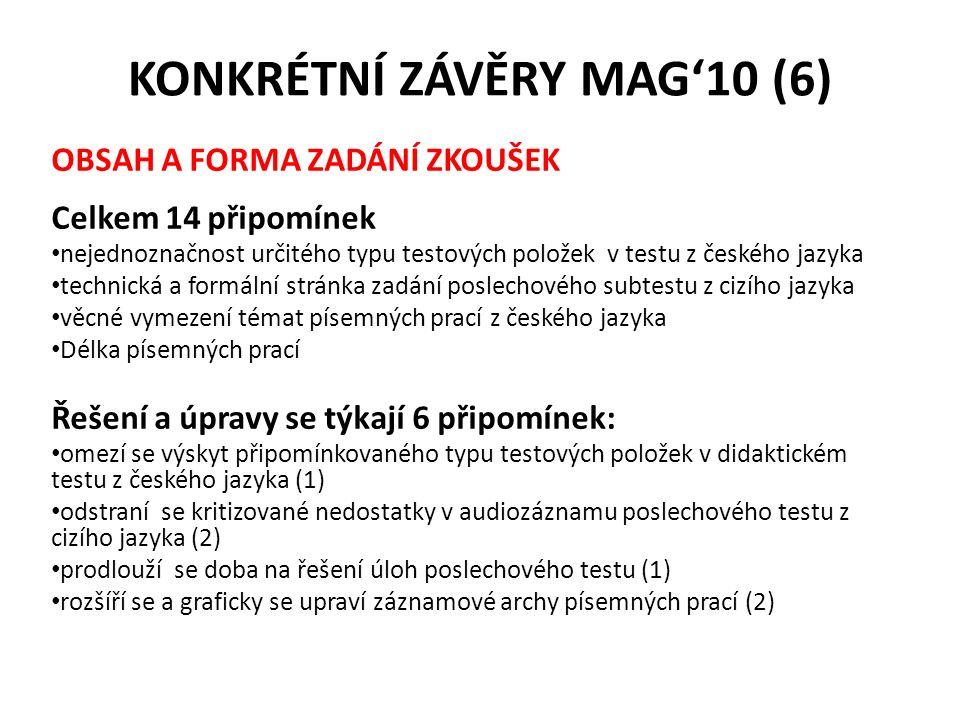 KONKRÉTNÍ ZÁVĚRY MAG'10 (6) OBSAH A FORMA ZADÁNÍ ZKOUŠEK Celkem 14 připomínek nejednoznačnost určitého typu testových položek v testu z českého jazyka