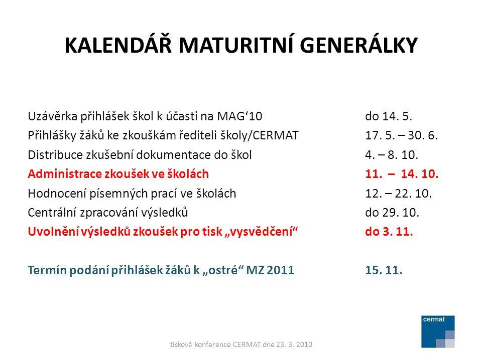 KALENDÁŘ MATURITNÍ GENERÁLKY Uzávěrka přihlášek škol k účasti na MAG'10do 14.