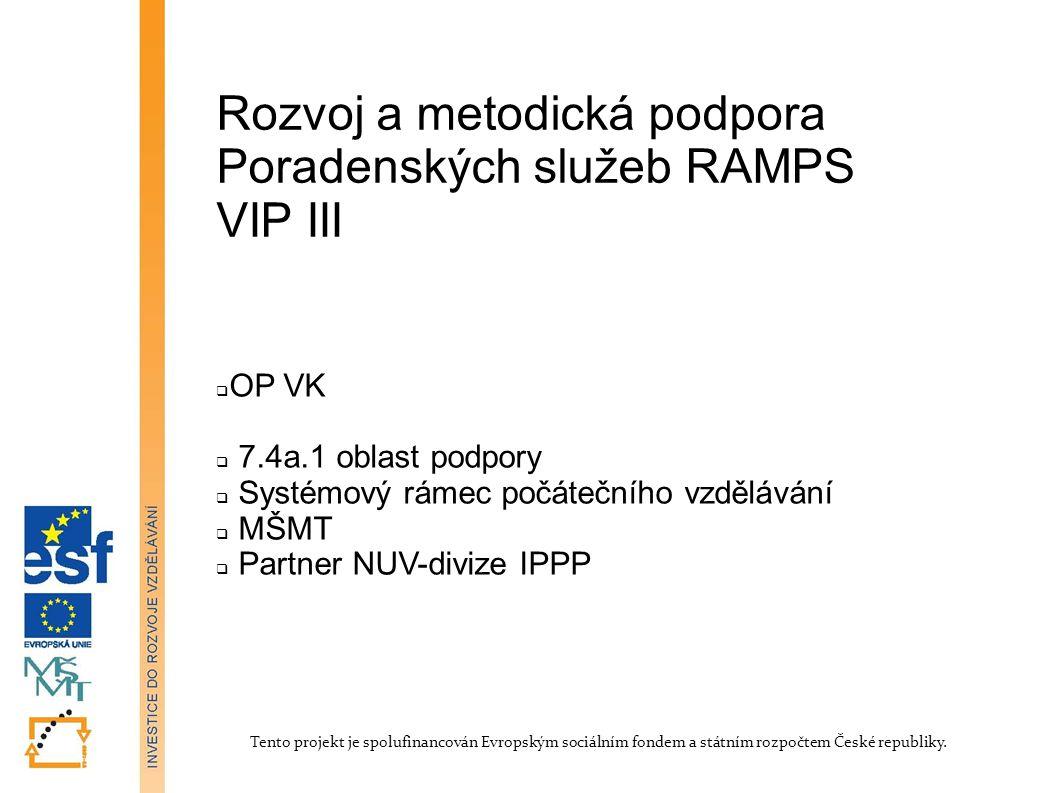 Filozofie projektu Projekt navazuje na projekty VIP-Kariéra a RŠPP(VIP II) 90.