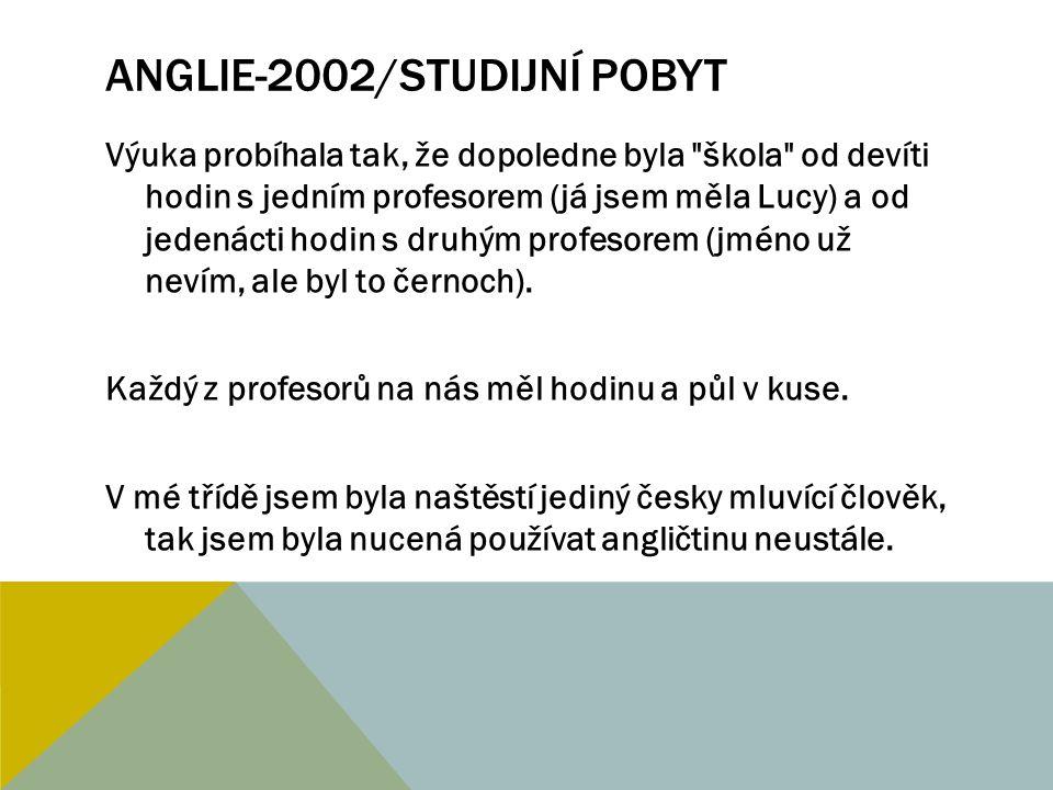 ANGLIE-2002/STUDIJNÍ POBYT A odpoledne byl vždy na programu nějaký sport nebo soutěže.