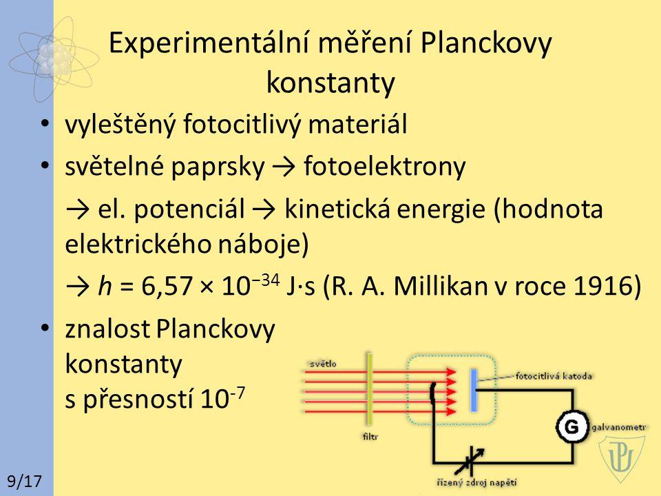 Experimentální měření Planckovy konstanty vyleštěný fotocitlivý materiál světelné paprsky → fotoelektrony → el. potenciál → kinetická energie (hodnota