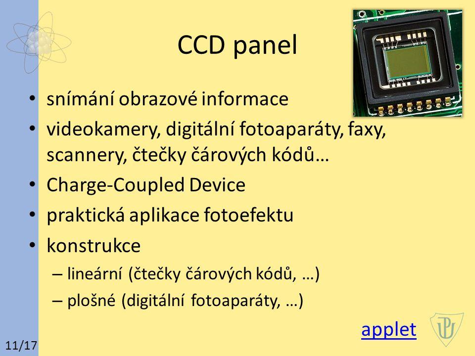 CCD panel snímání obrazové informace videokamery, digitální fotoaparáty, faxy, scannery, čtečky čárových kódů… Charge-Coupled Device praktická aplikac