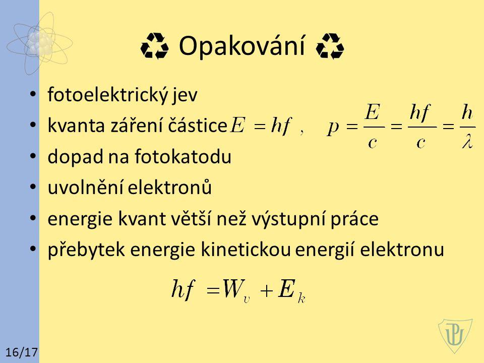 Opakování fotoelektrický jev kvanta záření částice dopad na fotokatodu uvolnění elektronů energie kvant větší než výstupní práce přebytek energie kine