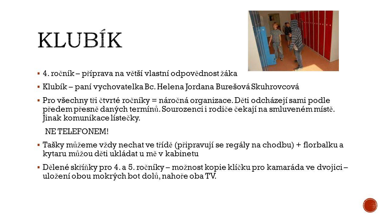  4.ro č ník – p ř íprava na v ě tší vlastní odpov ě dnost ž áka  Klubík – paní vychovatelka Bc.