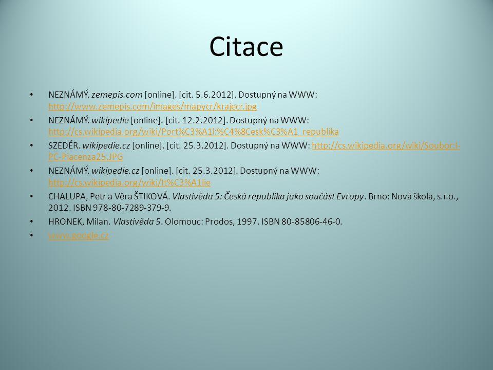 Citace NEZNÁMÝ. zemepis.com [online]. [cit. 5.6.2012].