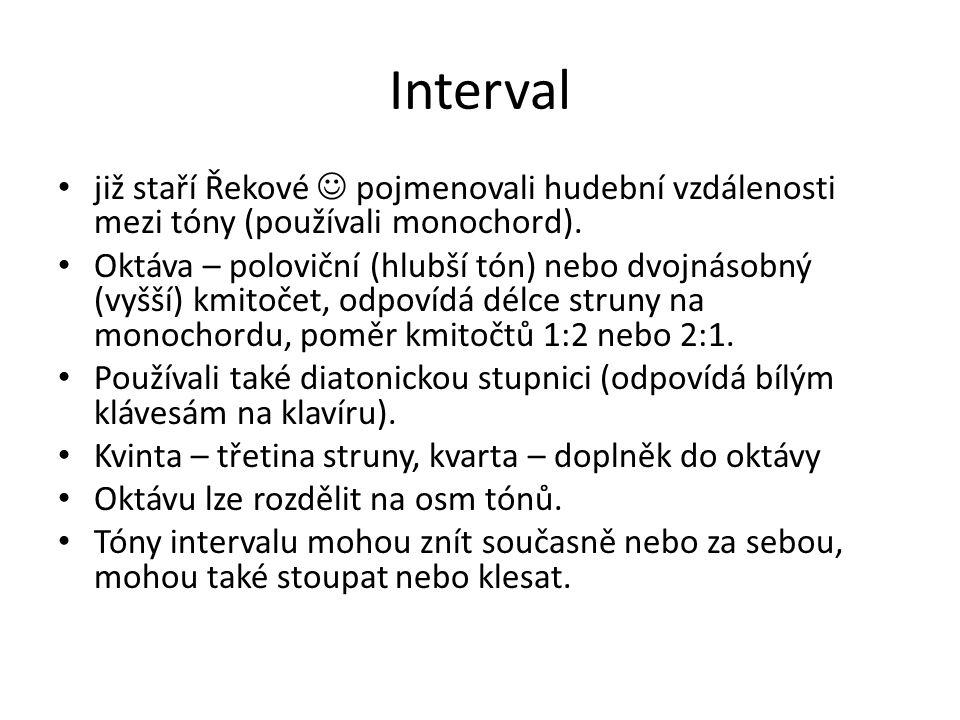 Interval již staří Řekové pojmenovali hudební vzdálenosti mezi tóny (používali monochord). Oktáva – poloviční (hlubší tón) nebo dvojnásobný (vyšší) km