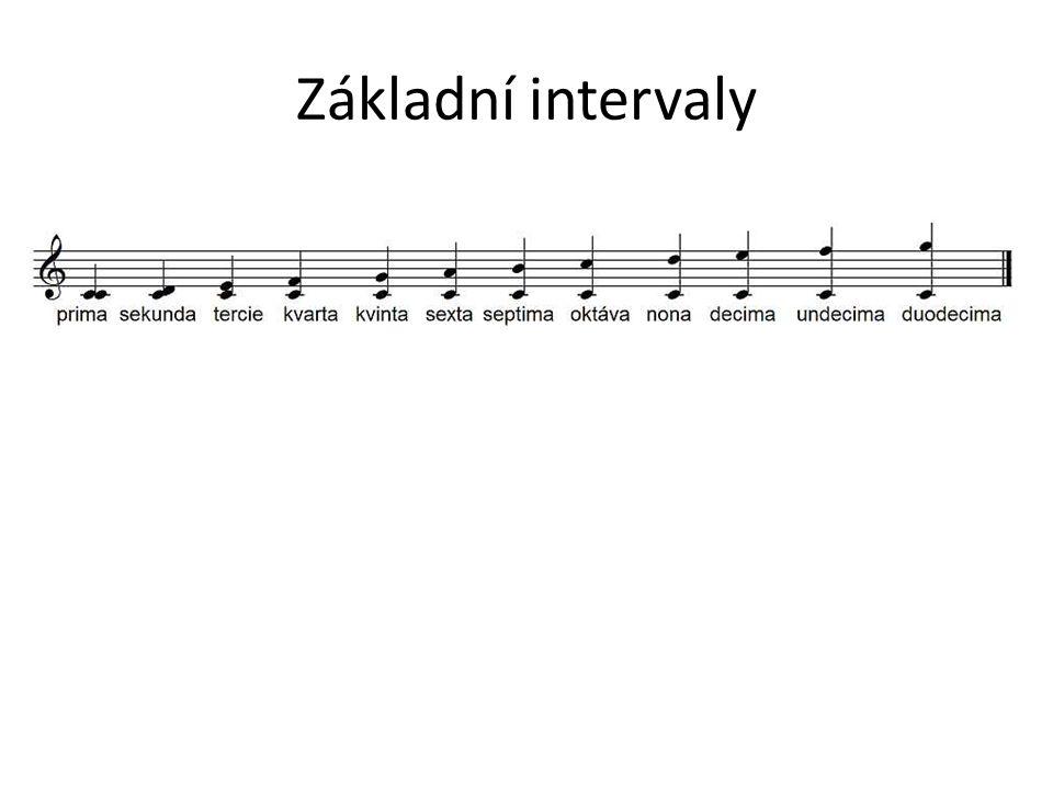 Rozdělení intervalů Čisté: prima, oktáva, kvinta, kvarta Velké a malé: sekunda, tercie, sexta, septima, rozdíl mezi malým a velkým intervalem je půltón.