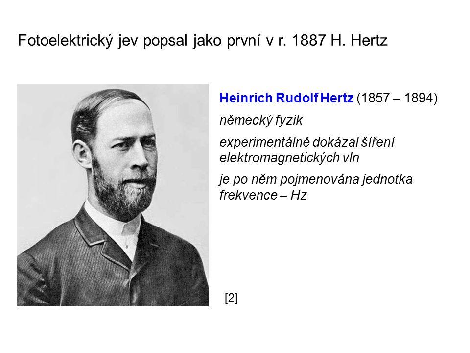 Fotoelektrický jev popsal jako první v r. 1887 H. Hertz Heinrich Rudolf Hertz (1857 – 1894) německý fyzik experimentálně dokázal šíření elektromagneti