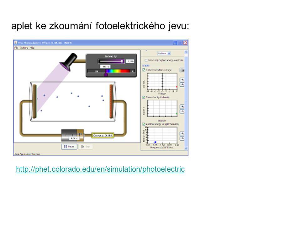 aplet ke zkoumání fotoelektrického jevu: http://phet.colorado.edu/en/simulation/photoelectric