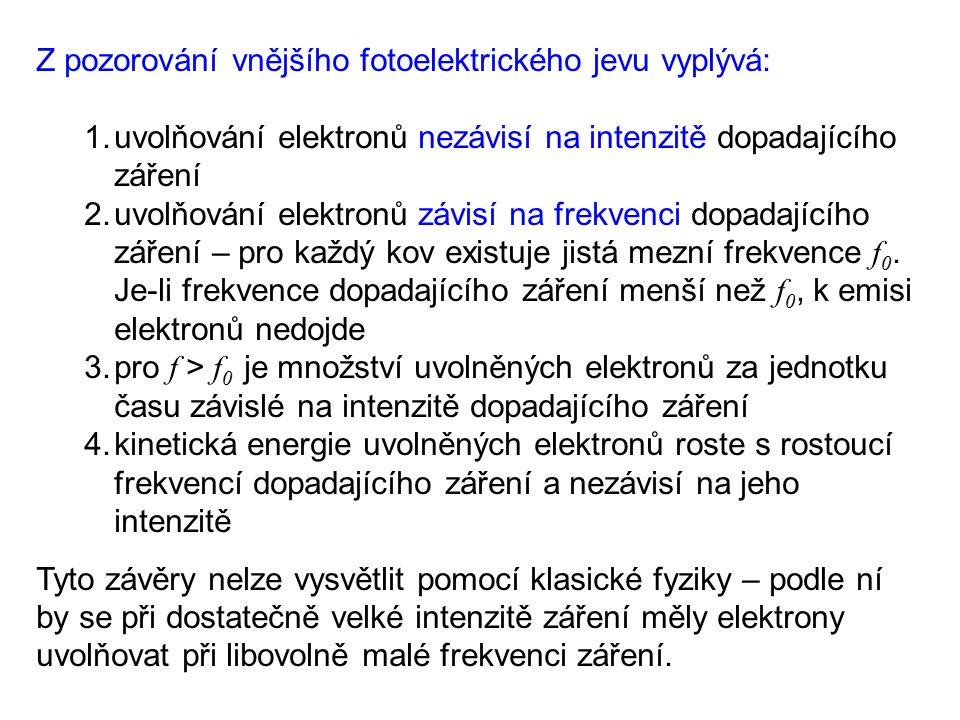 Z pozorování vnějšího fotoelektrického jevu vyplývá: 1.uvolňování elektronů nezávisí na intenzitě dopadajícího záření 2.uvolňování elektronů závisí na