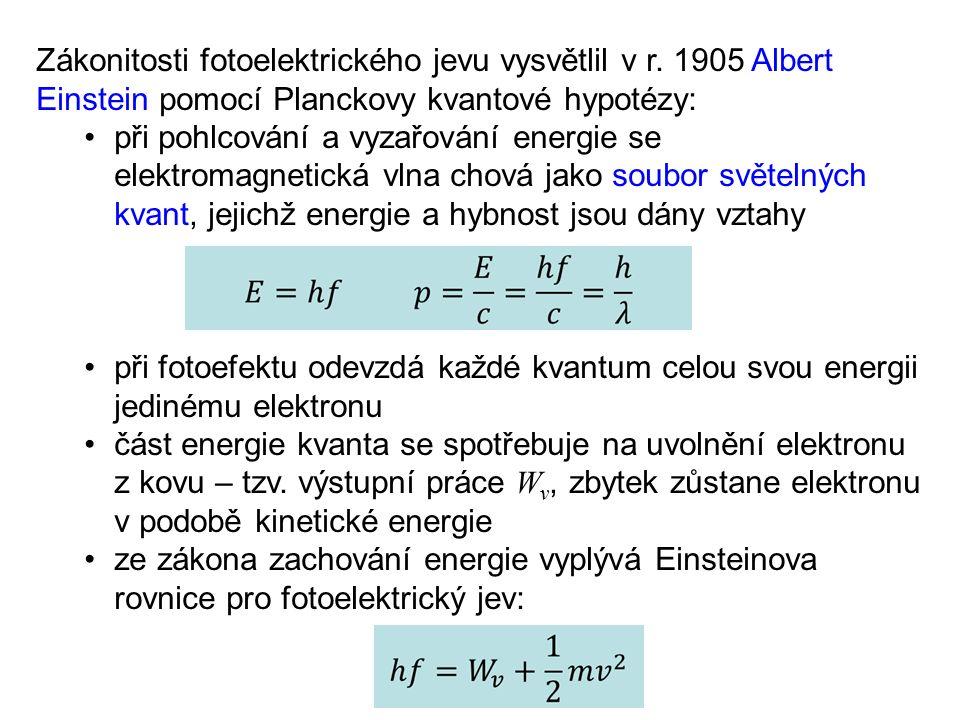Zákonitosti fotoelektrického jevu vysvětlil v r. 1905 Albert Einstein pomocí Planckovy kvantové hypotézy: při pohlcování a vyzařování energie se elekt