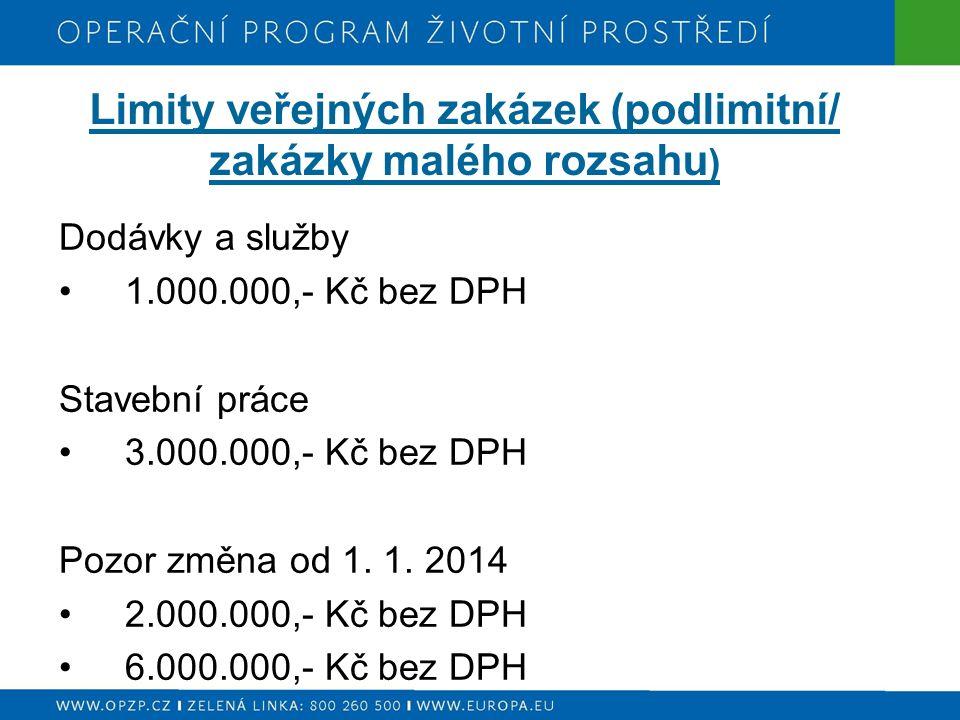 Limity veřejných zakázek (podlimitní/ zakázky malého rozsahu ) Dodávky a služby 1.000.000,- Kč bez DPH Stavební práce 3.000.000,- Kč bez DPH Pozor změ