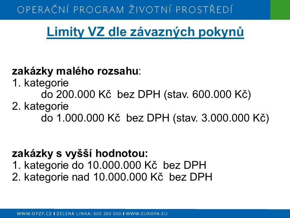 Limity VZ dle závazných pokynů zakázky malého rozsahu: 1. kategorie do 200.000 Kč bez DPH (stav. 600.000 Kč) 2. kategorie do 1.000.000 Kč bez DPH (sta