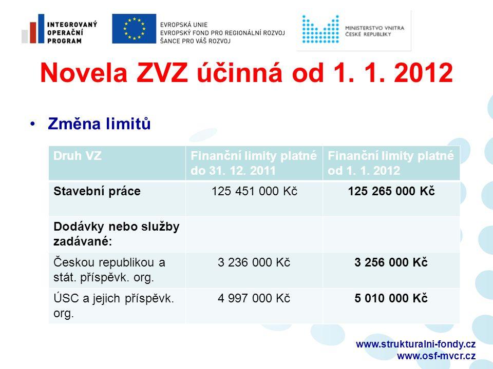 Novela ZVZ účinná od 1. 1. 2012 Změna limitů Druh VZFinanční limity platné do 31.