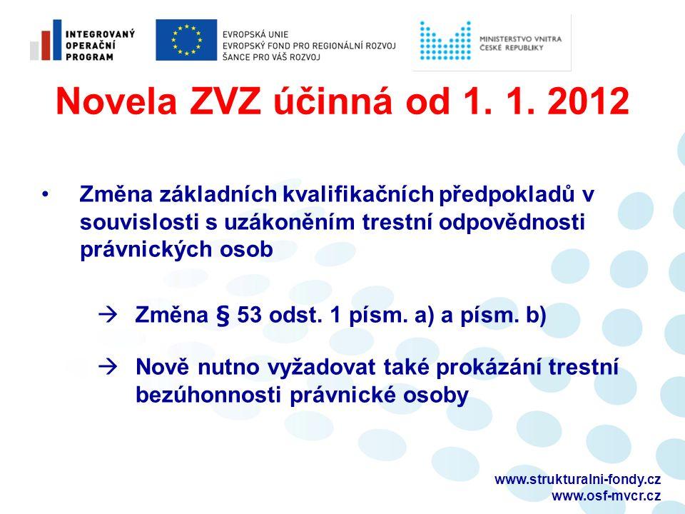 Novela ZVZ účinná od 1. 1.