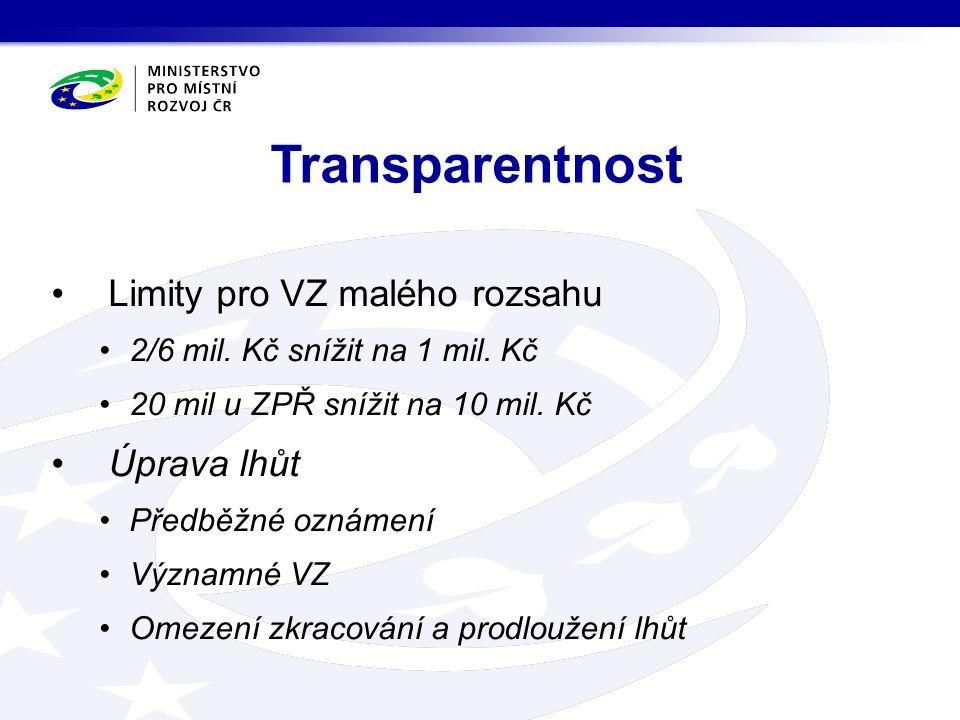 Uveřejňovací povinnosti Smlouvy nad 500 000,- Kč, včetně dodatků Konečná cena Struktura vlastníků Subdodavatelé nad 10/5% Písemná zpráva, protokoly Členové hodnotících komisí Čtení všech číselně vyjádřených hodnotících kritérií Transparentnost