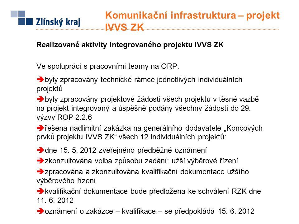 Komunikační infrastruktura – projekt IVVS ZK Realizované aktivity Integrovaného projektu IVVS ZK Ve spolupráci s pracovními teamy na ORP:  byly zpracovány technické rámce jednotlivých individuálních projektů  byly zpracovány projektové žádosti všech projektů v těsné vazbě na projekt integrovaný a úspěšně podány všechny žádosti do 29.