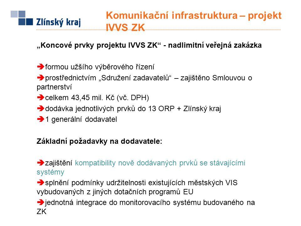 """Komunikační infrastruktura – projekt IVVS ZK Připravované aktivity  ve spolupráci s ORP připravit zadávací podmínky veřejné zakázky na dodávku """"Koncových prvků projektu IVVS ZK  účast zástupců ORP v hodnotící komisi zakázky  předpokládaný termín uzavření smlouvy s dodavatelem: 30."""