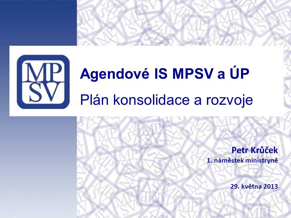 Agendové IS MPSV a ÚP Plán konsolidace a rozvoje Petr Krůček 1. náměstek ministryně 29. května 2013