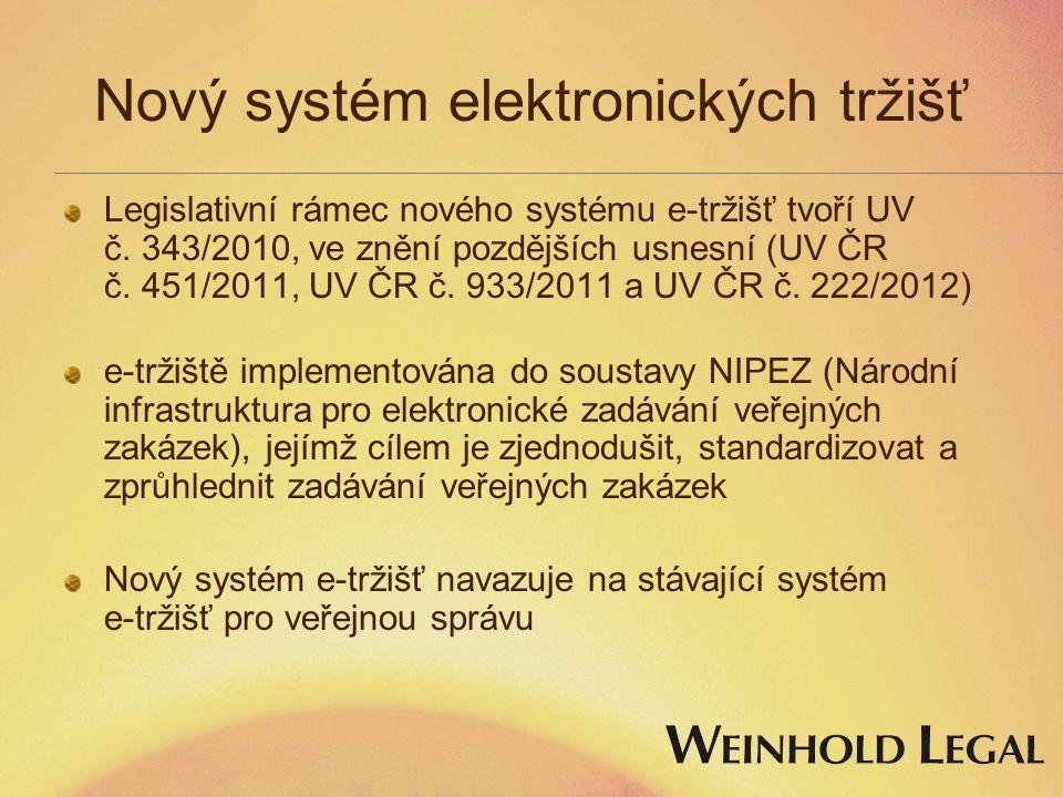 Nový systém elektronických tržišť Legislativní rámec nového systému e-tržišť tvoří UV č.